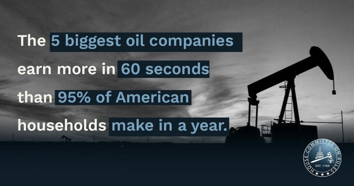 The 5 biggest oil companies earn more in 60 seconds than 95% of American households make in a year.