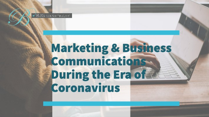 """A woman typing on a computer with the text """"Marketing and Business Communications During the Era of Coronavirus"""""""