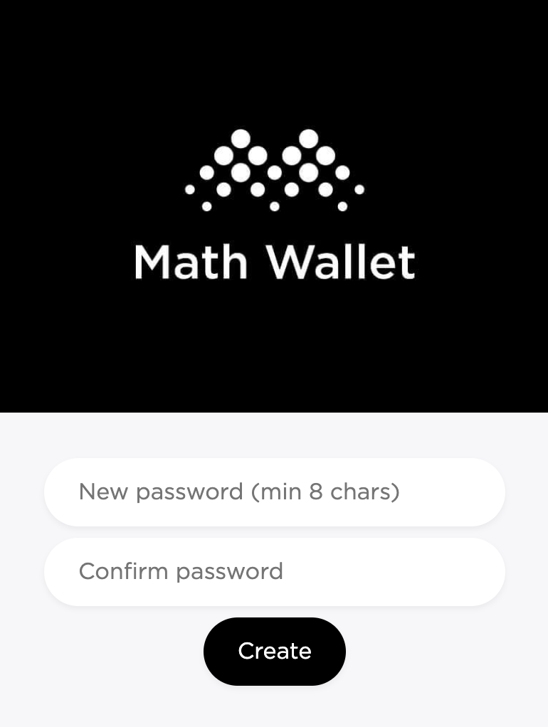 Create a password for your Math Wallet.