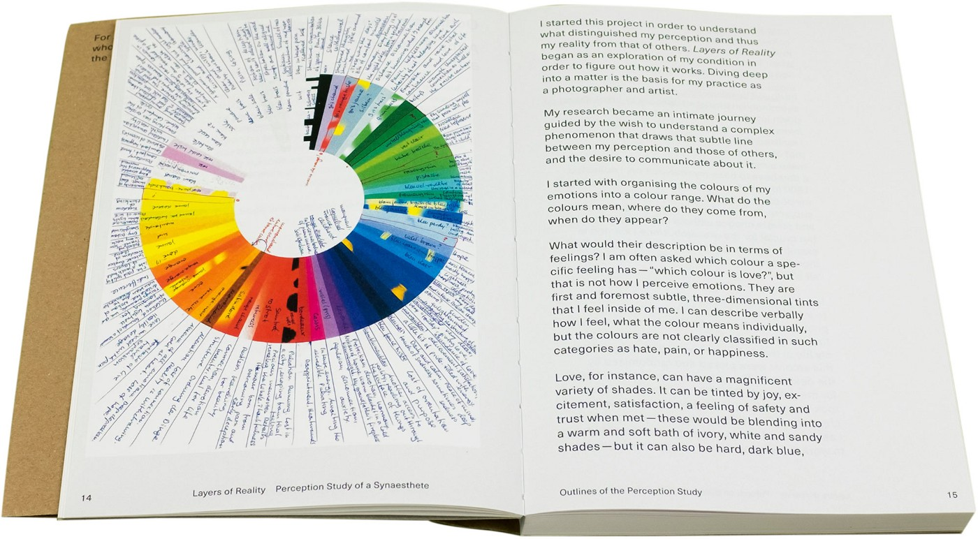 Photograph of an inside spread showing a multi-coloured pie chart on the left page with large black text on the right
