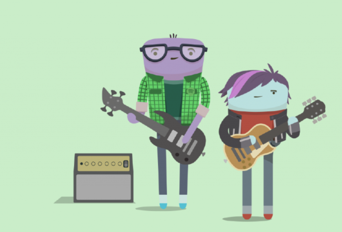 Image of two tadpole-looking characters holding musical instruments and wearing plaid and leather jackets. One is playing a left-handed electric bass; the other is playing a right-handed electric guitar. There is an amplifier off to the side.