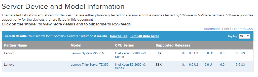 Installing ESXi on Lenovo ThinkServer TD350 w/ BIOS Versions >3 34 0