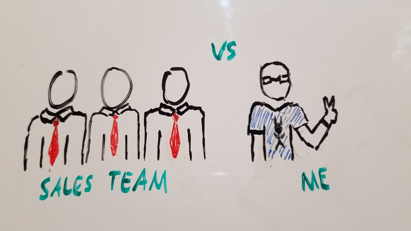 A lone freelancer competes against a professional sales team.