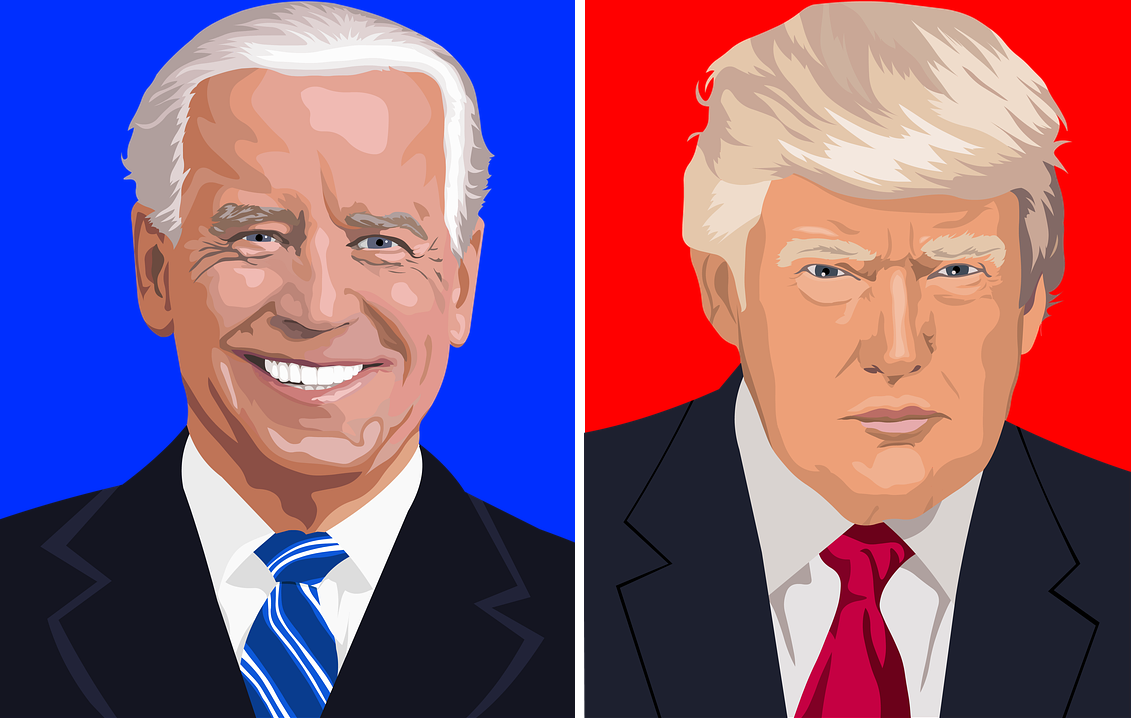 Side-by-side illustrations of President Joe Biden and Fmr. President Donald Trump