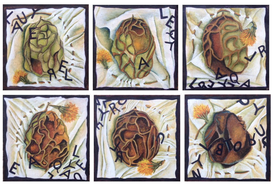 Painting, six panels, walnut in decay laying of swaths of fabric with marigolds