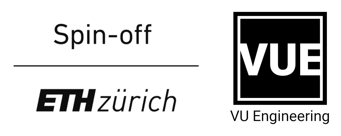 Logos of the ETH spin-off label and VU Engineering next to each other