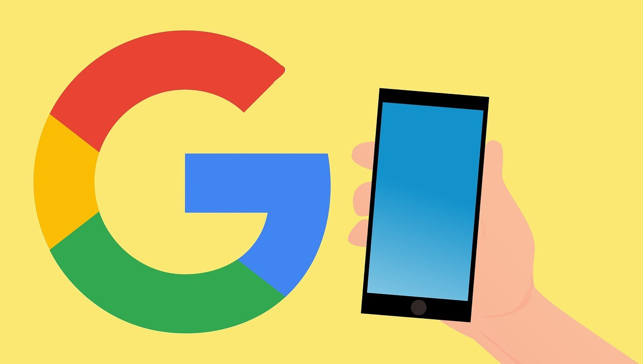 Header image graphic showing Googles logo and a mobile phone for the article Google web stories SEO