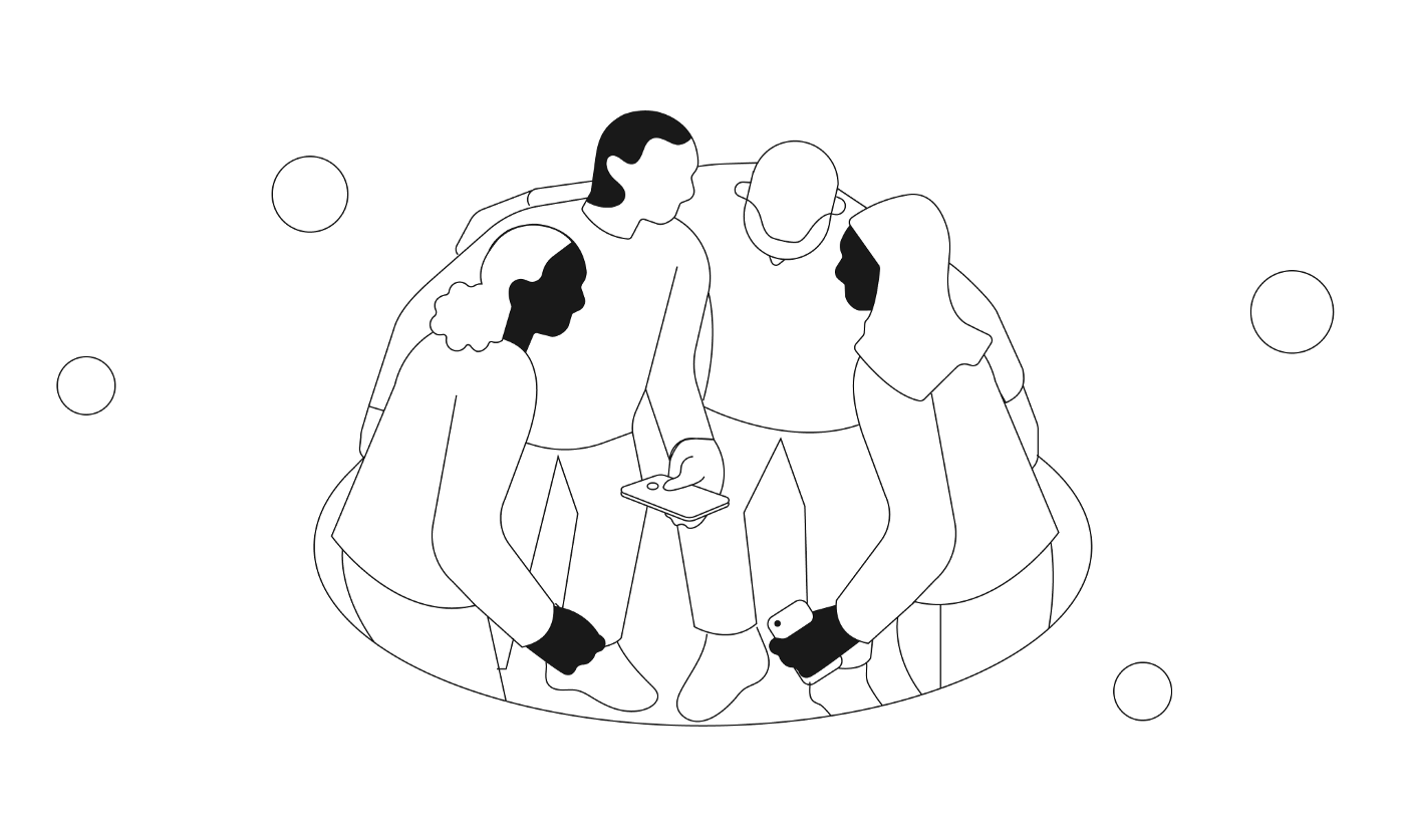 An illustration of a diverse group of people standing together looking at a smartphone.