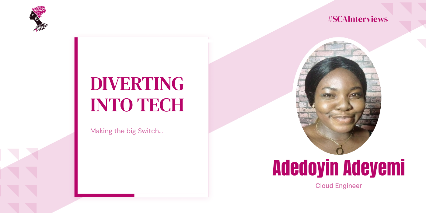 A banner showing the face of Adedoyin, the cloud engineer interviewed.