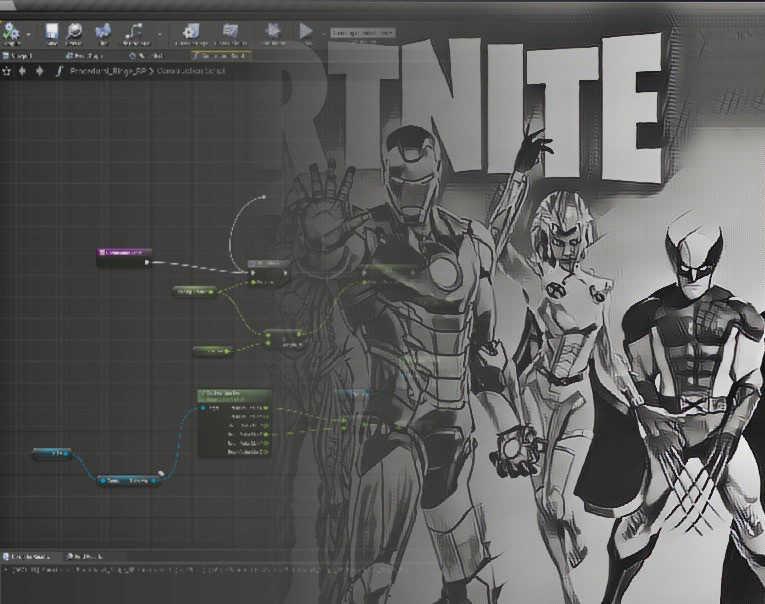Unreal Engine Blueprint fading into a Fortnite screen.