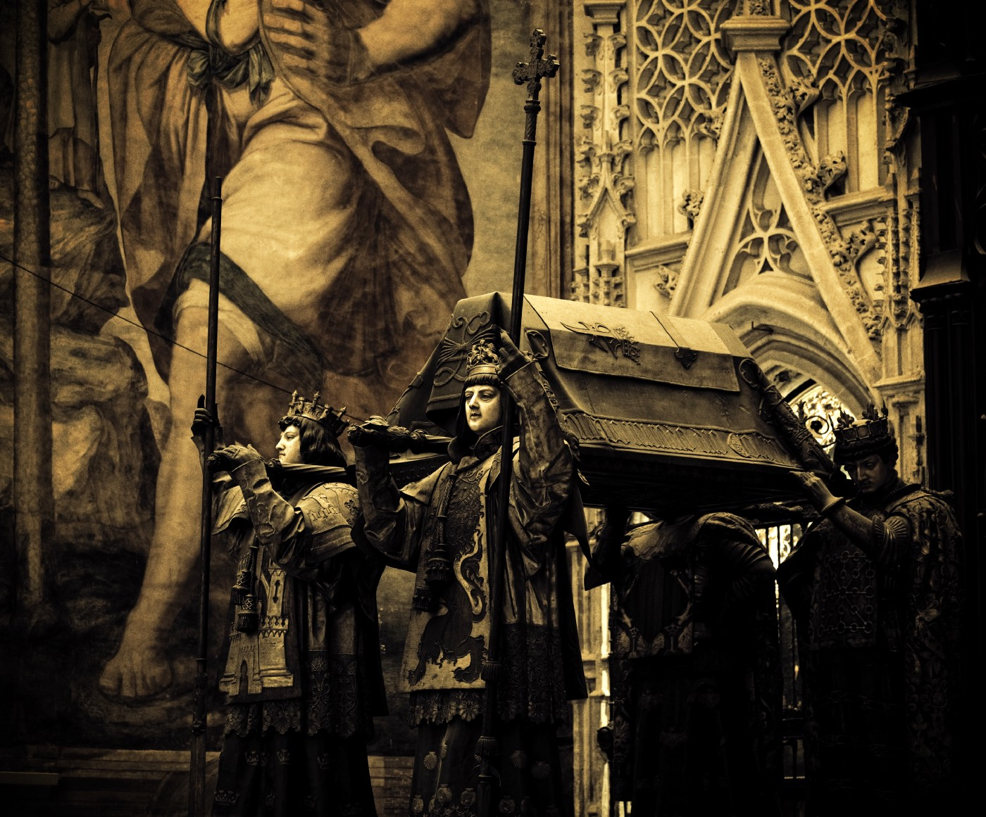Christopher Columbus' sepulcher in the Cathedral of Seville, Spain.