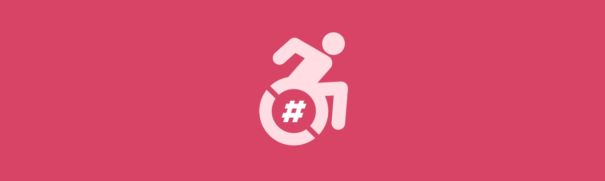 A symbol depicting a person in a wheelchair moving forward is overlaid with symbols from social media platforms.