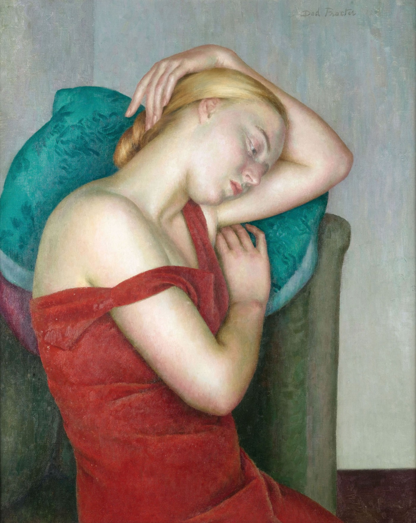 Painting of a white woman with blonde hair, wearing a red dress, she is sitting down and resting her head and arm on a turquoise pillow