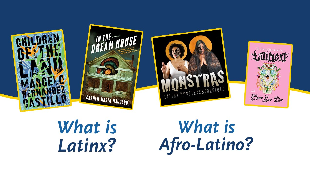 Cutouts of the covers of Children of the Land, In the Dream House and Latinext next to the logo for Monstras on top of a blue