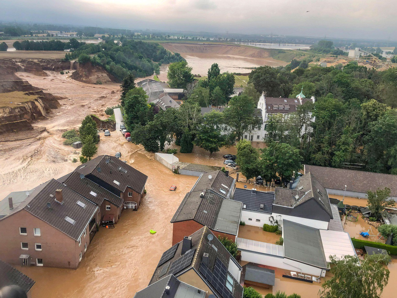 An areal view after flooding at Erftstadt-Blessem, Germany, July 16, 2021