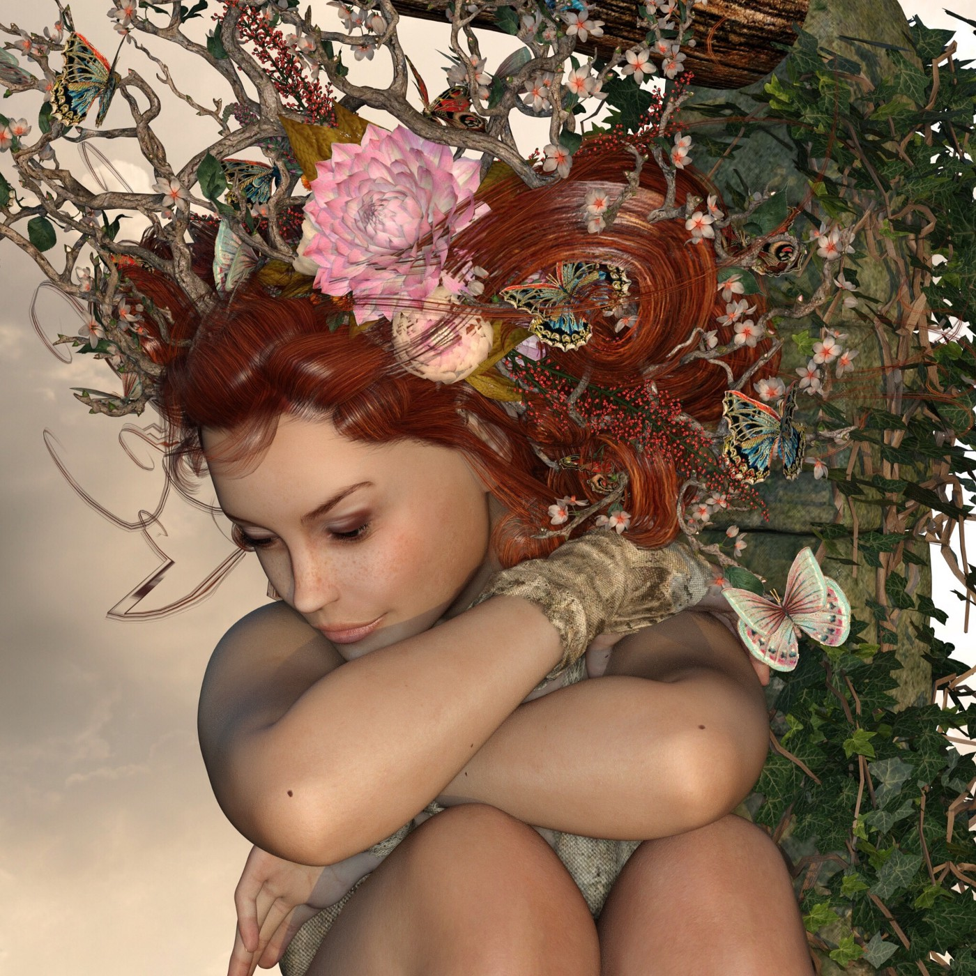 Artwork of a woman with nature crown of branches and flowers