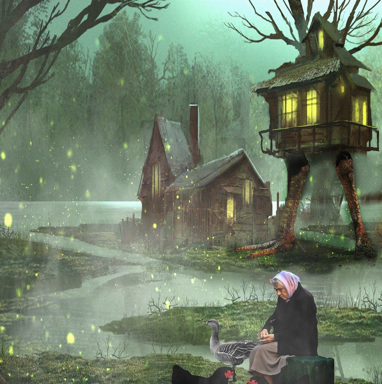 An old woman feeding chickens in front of her hut on chicken legs in the woods