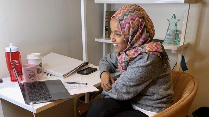 Representative Ilhan Omar on a virtual school networking event