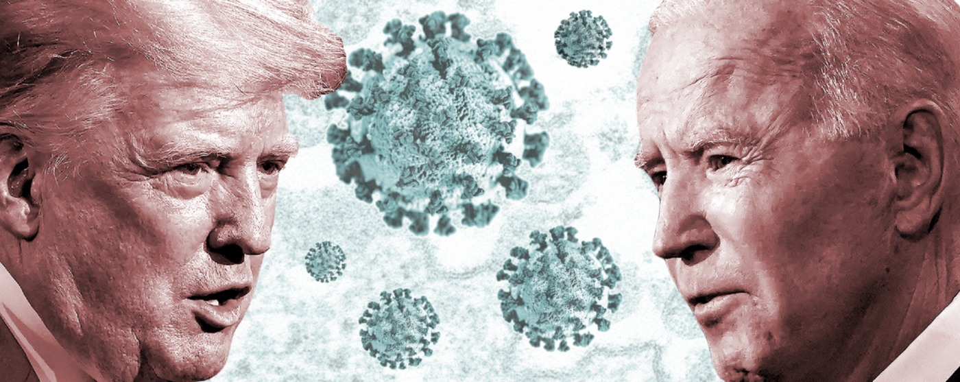 A graphic of Trump's face on the left and Biden's face on the right with a background of coronavirus.