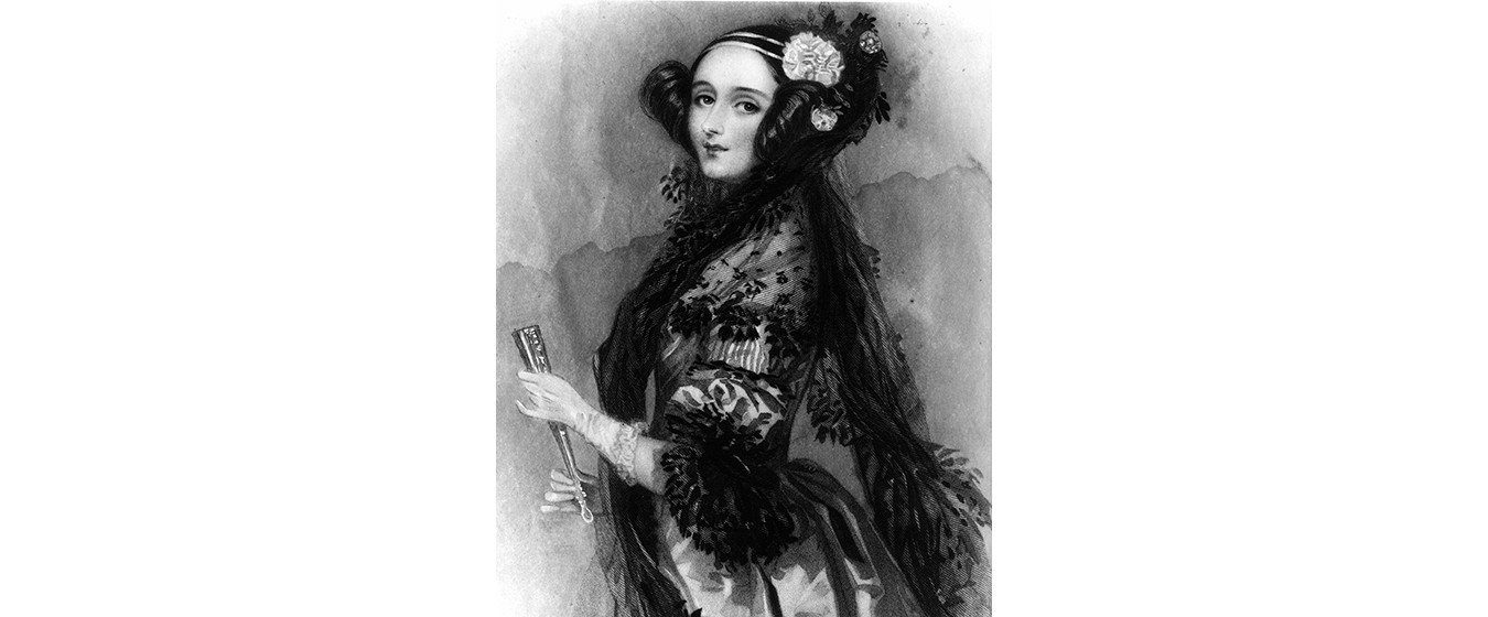 A black and white portrait of Ada King, countess of Lovelace, looking at the camera from an angle and wearing elegant period-style clothing, adapted from a painting by Alfred Edward Chalon, c. 1838.