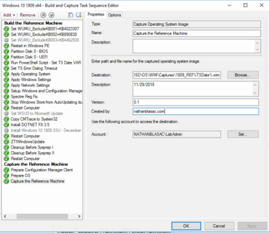 SCCM Current Branch-Build and Capture Task Sequence for Windows 10