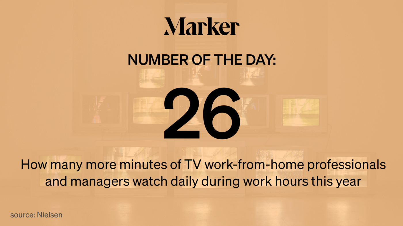 26—How many more minutes of TV work-from-home professionals and managers watch daily during work hours this year (Nielsen)