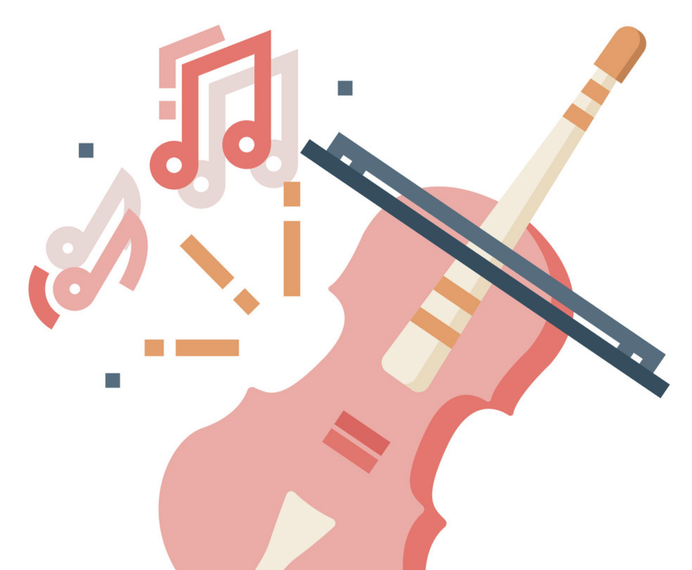 Music symbol and guitar to signify music.
