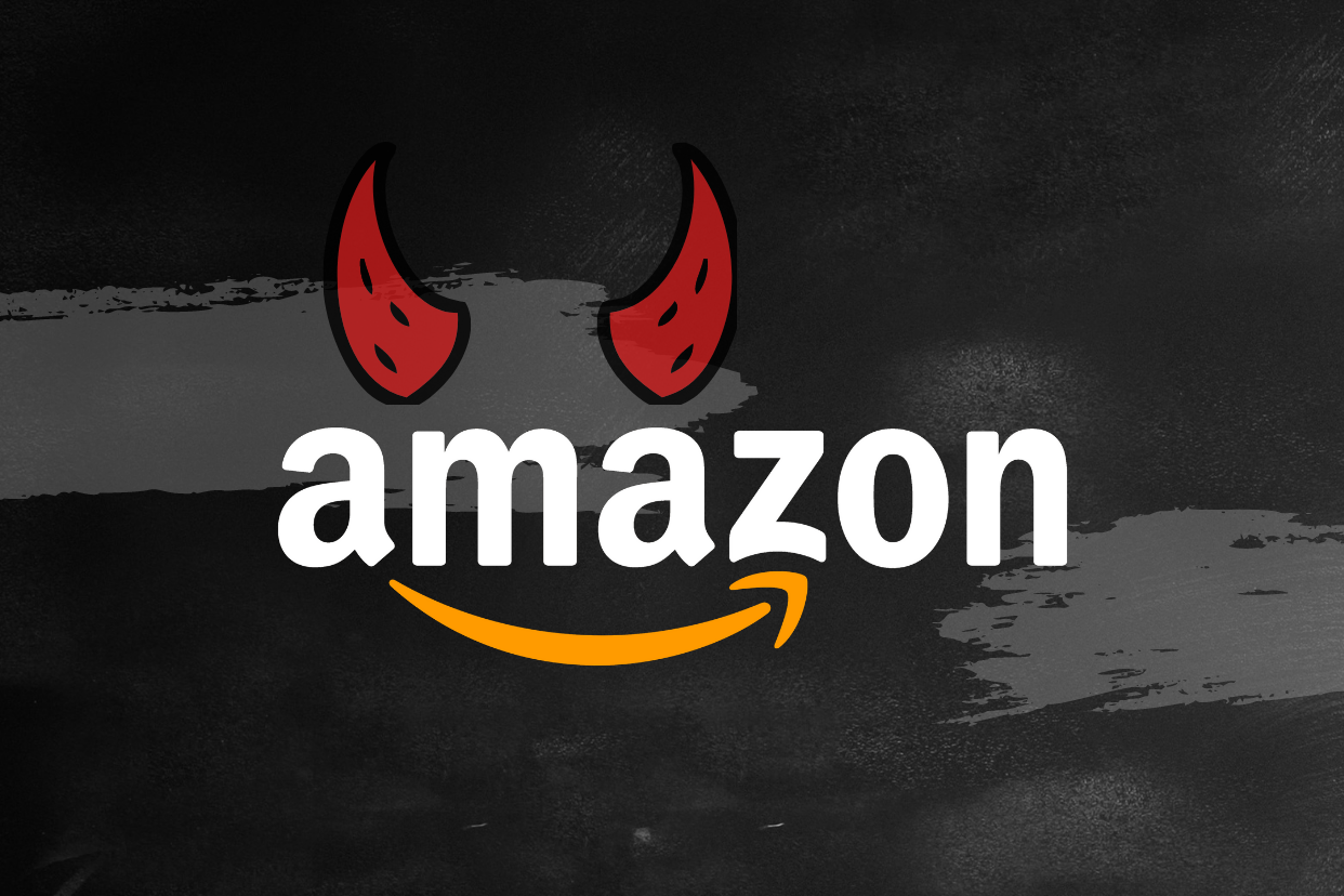 Amazon logo with devil horns added