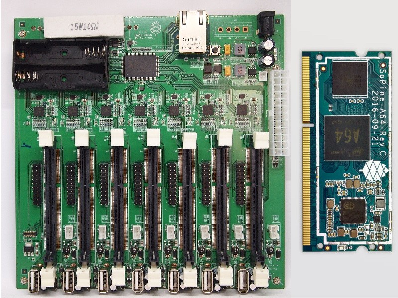 A Pine64 clusterboard next to a SOPINE SO-DIMM compute module