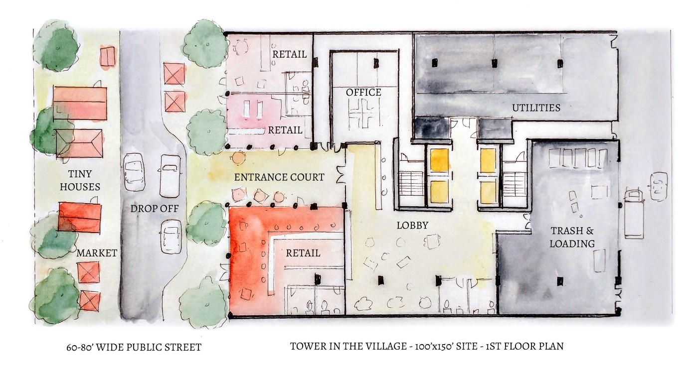 Floor plan of tower, showing street on left, retail and entrance court, lobby, and loading utility areas