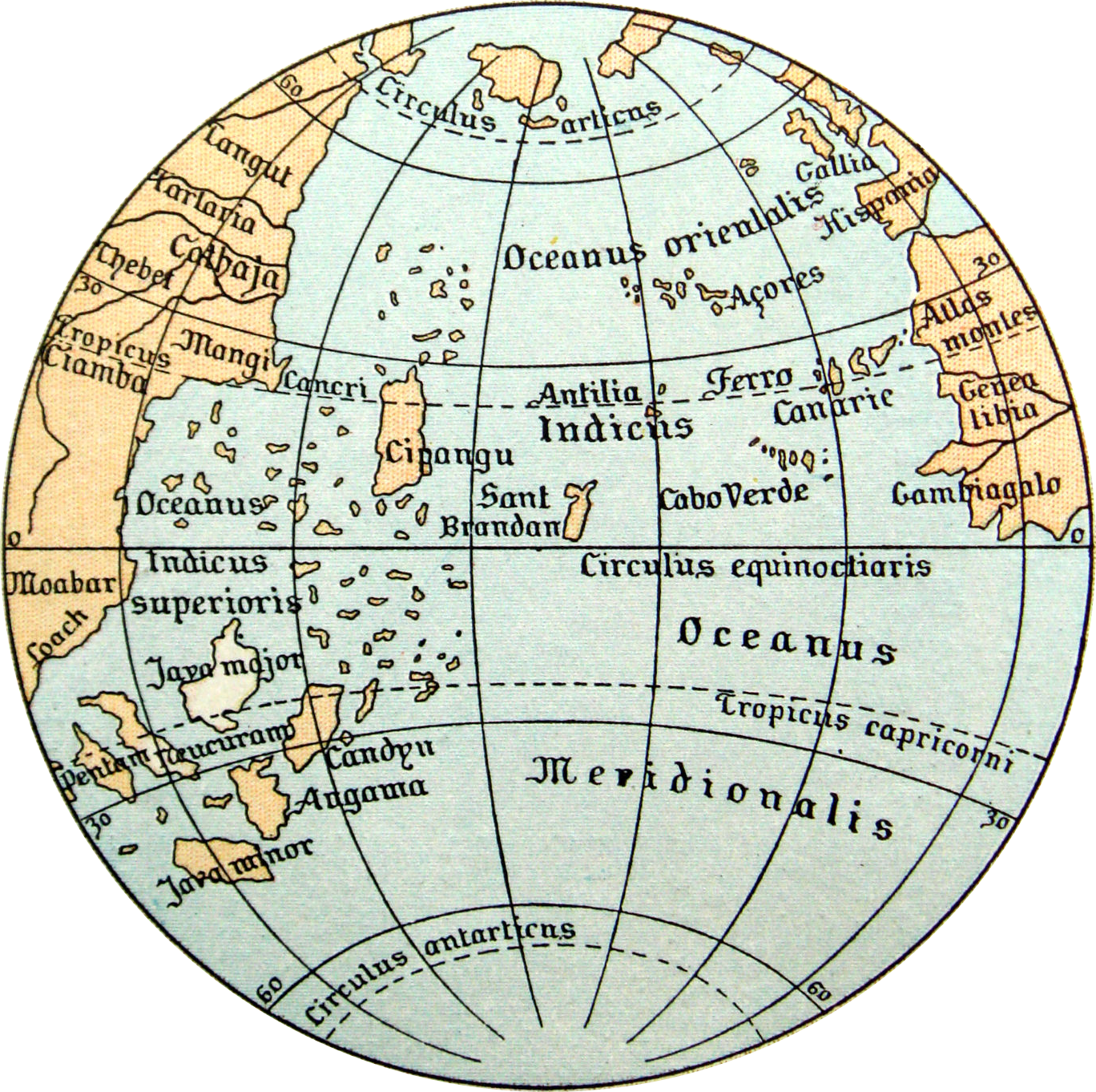 A reproduction of a pre-columbian map by Martin Behaim. There is an ocean between Europe and India. America is missing, as it had not yet been discovered.