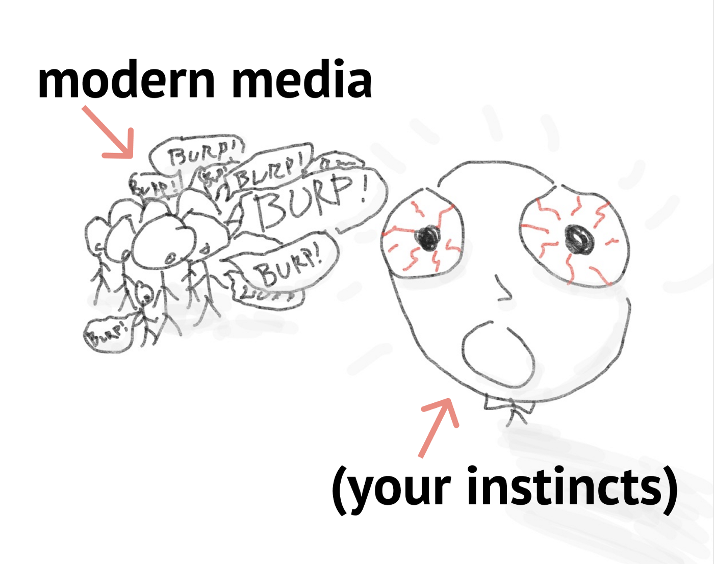 Modern media burps stories. Foreground:  a blood-shot eyed stick figure freaks out (your instincts).