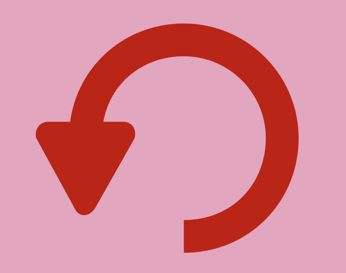 A red semi-circle with an arrow at one end, against a pink background
