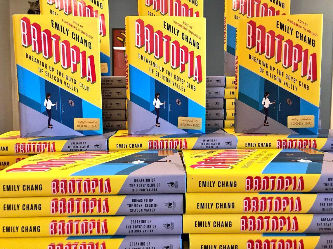Pile of copies of the book 'Brotopia—Breaking up the Boys' Club of Silicon Valley'