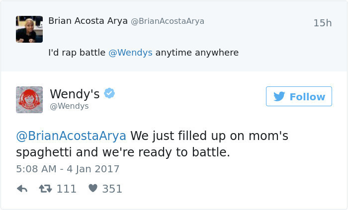 "Wendy's ""Frozen"" Emphasis as well as their verbal Social Media"
