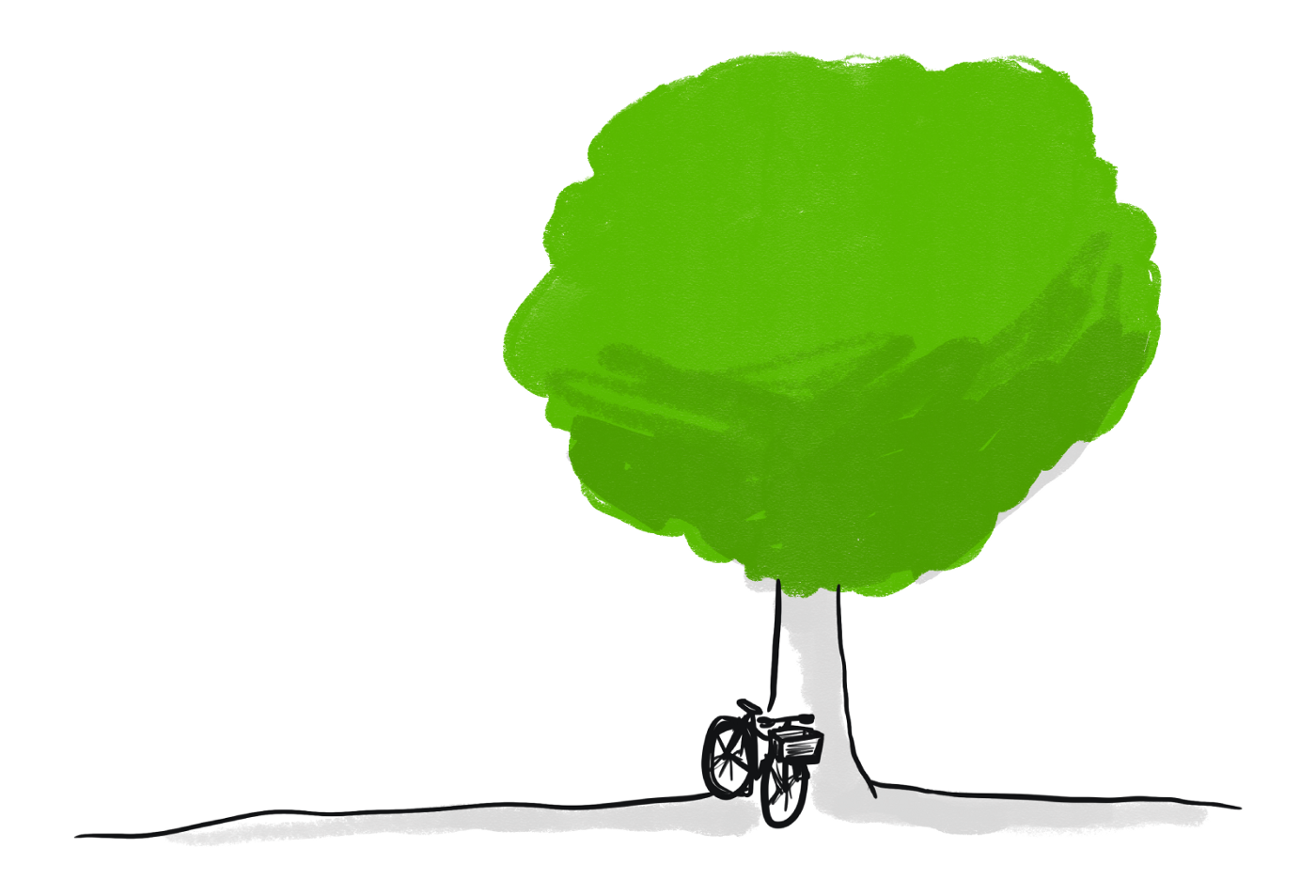 Illustration of a bicycle leaning against a tree