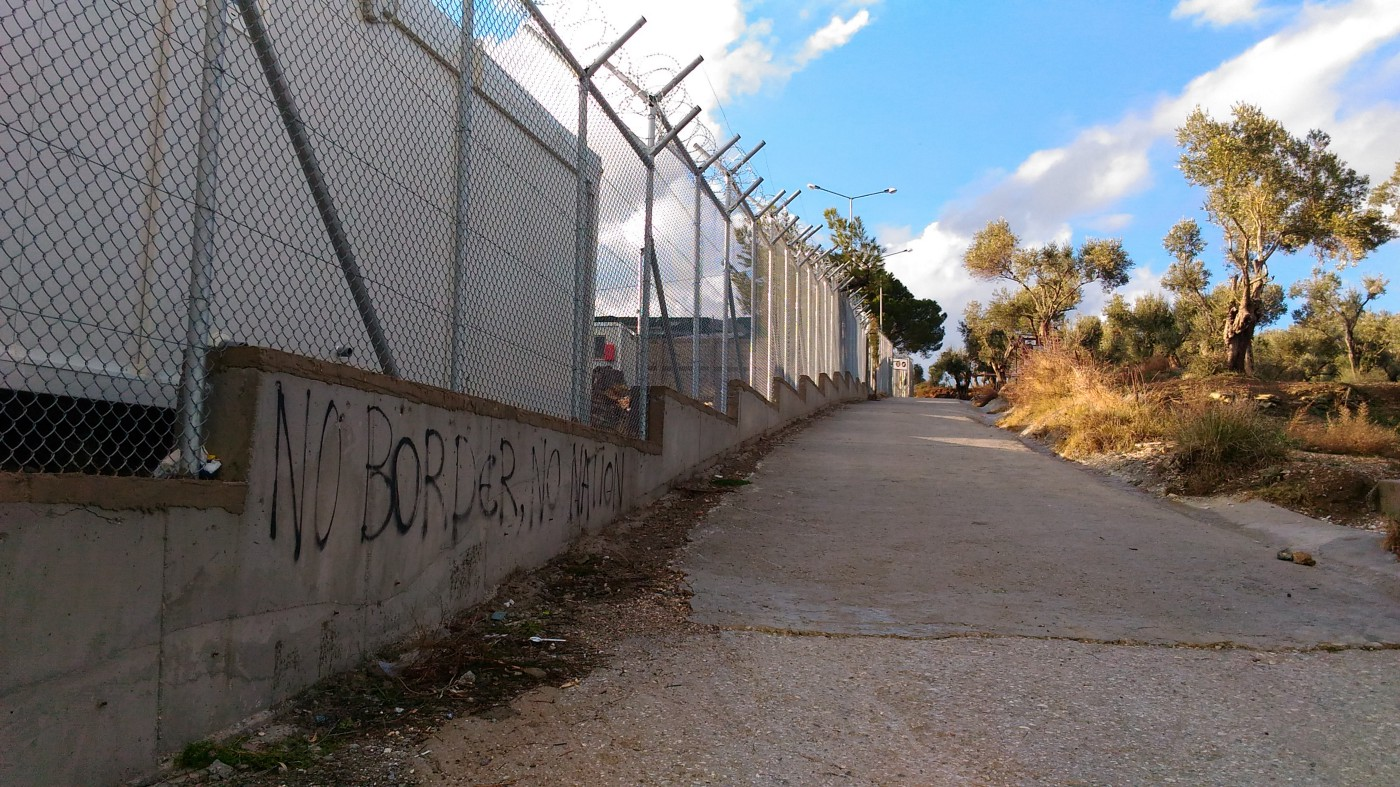 A barbed wire fence on the outskirts of camp Moria.