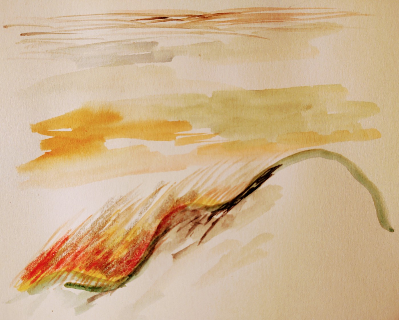 simple water color art of mountain silhouette with fire and clouds behind it