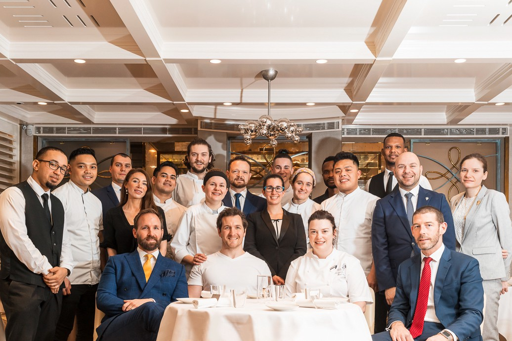 Restaurant team photograph at Michelin starred London fine dining restaurant showing hospitality support by Food Story Media.