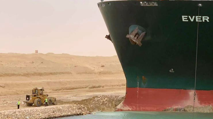 Ever Given container ship is stuck in Suez canal