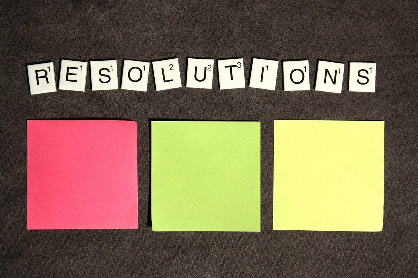 scrabble tiles spelling the word resolutions