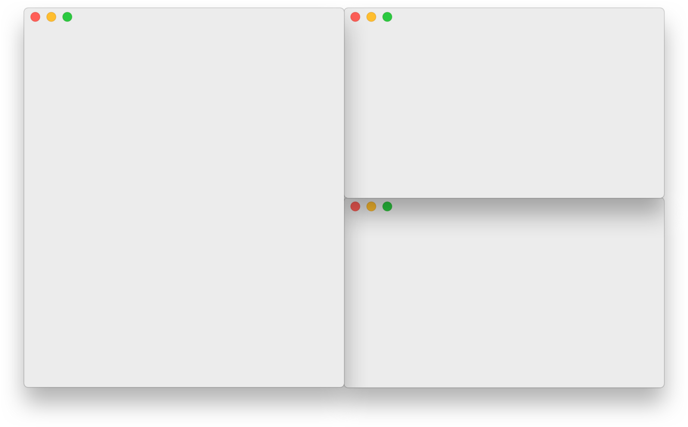 Am image to demonstrate how window manager can be used to organise windows