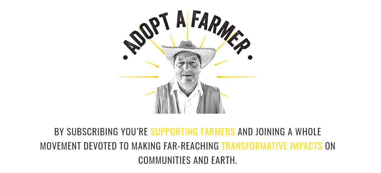 An image of a Colombian farmer promoting the campaign, Adopt A Farmer.