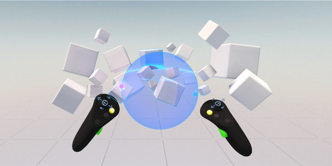 First person view of a user creating a sphere with his controllers to select multiple cubes in a virtual reality environment