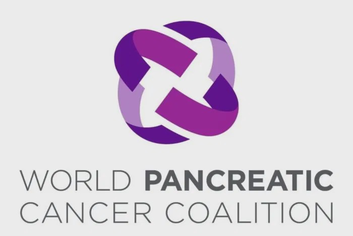 World Pancreatic Cancer Coalition with purple gradient rectangles bent to form a globe.