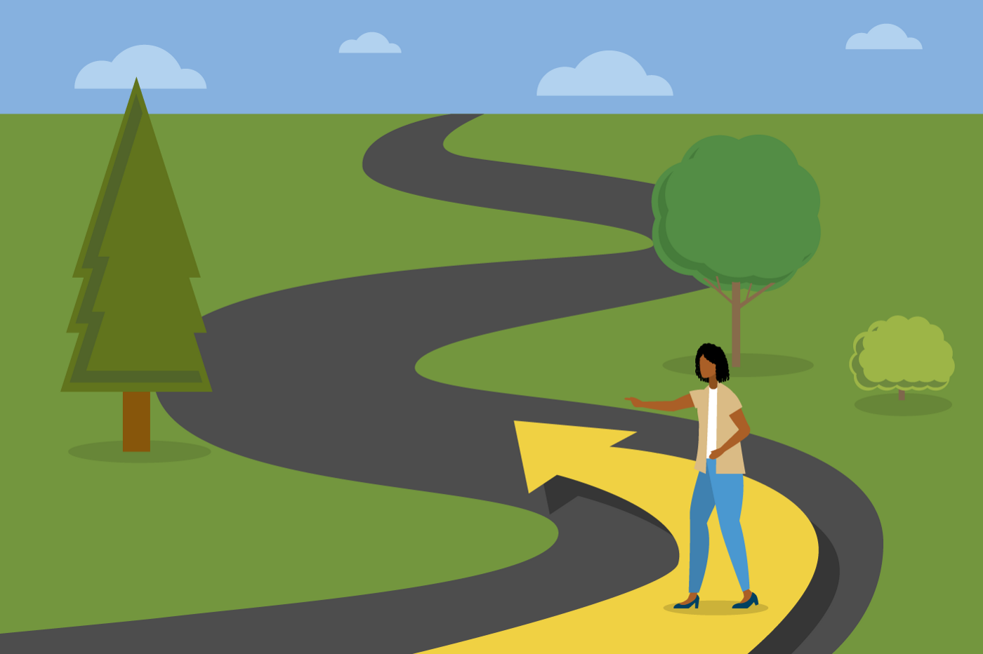 Woman points a way down a path. An arrow flows past her and short way beyond in the direction she is pointing.