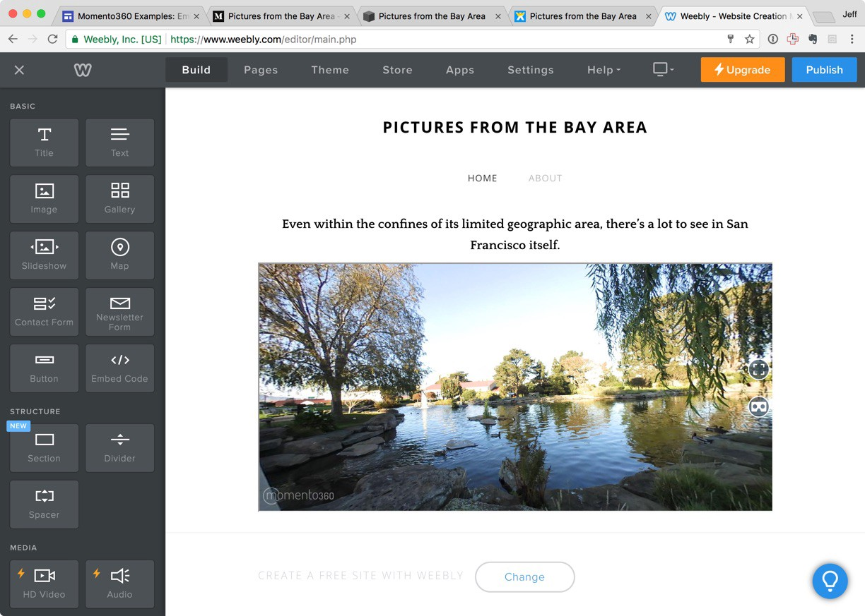 How to embed 360 photos in your Weebly website - The Momento360 Blog