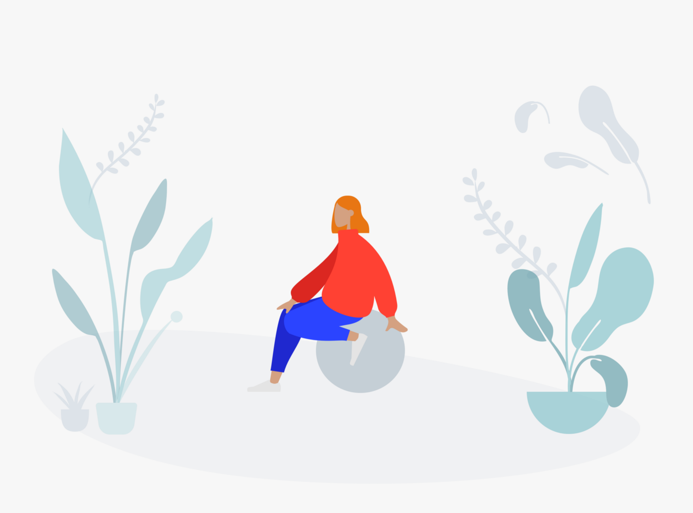 Illustration showing someone sat along on a rock within nature