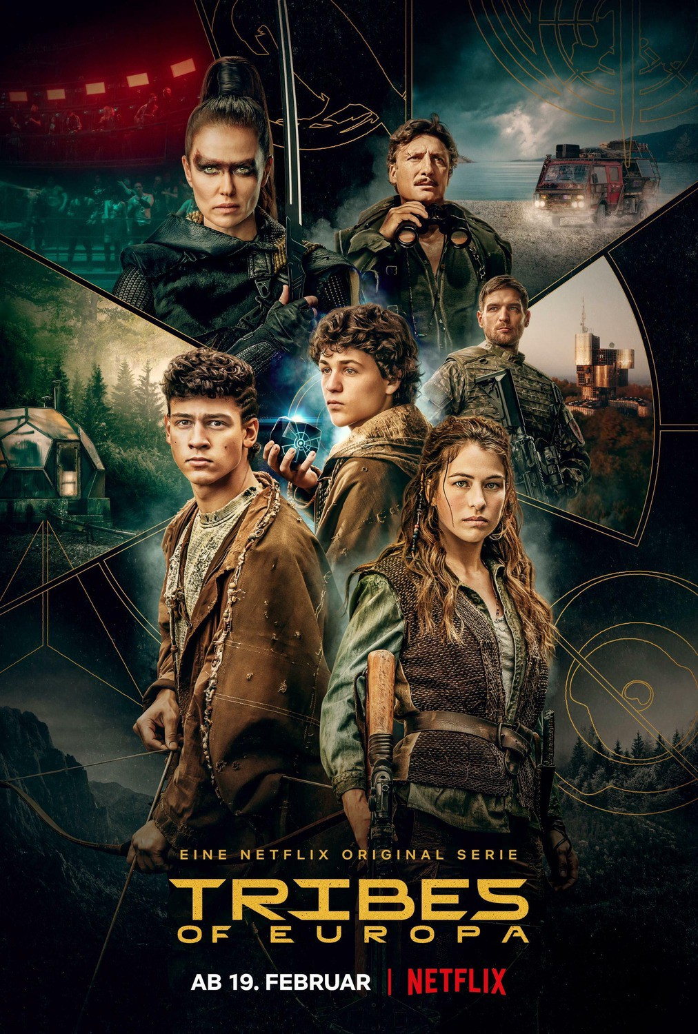 The Tribes of Europa movie poster with the main characters in front of some of the show's locations.